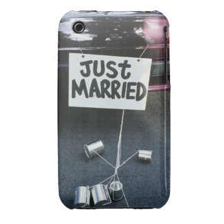 Just Married sign on back of car iPhone 3 Cover