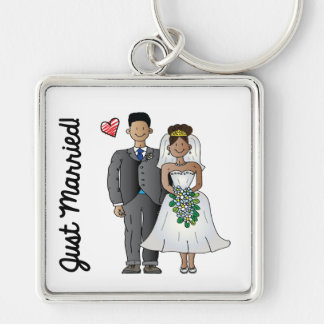 Just Married Silver-Colored Square Keychain