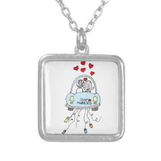 Just Married Silver Plated Necklace