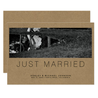 Just Married Simple Photo Wedding Announcement