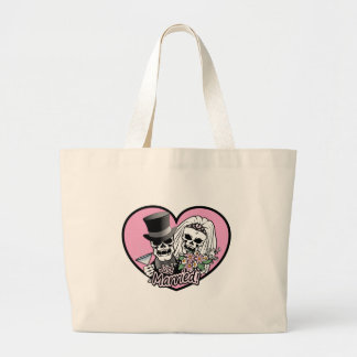 Just Married skulls Large Tote Bag