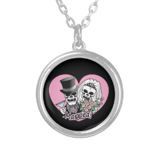 Just Married skulls Silver Plated Necklace