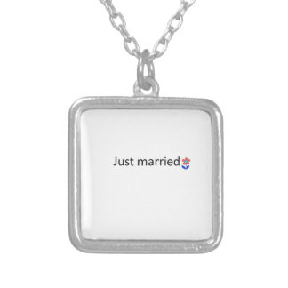 just married square pendant necklace