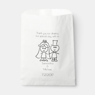Just Married Stick Figure Couple White Favor Bag
