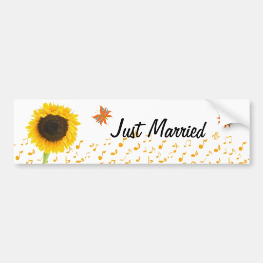 Just Married Sunflower Butterfly BumperSticker Bumper Sticker