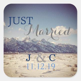 Just married Teton Winter Wedding Square Sticker