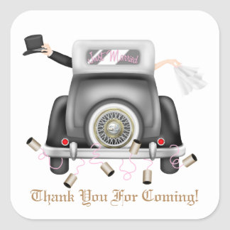 Just married tin can Wedding sticker