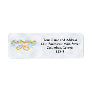 Just Married, Two Gold Bands/Clouds Return Address Label