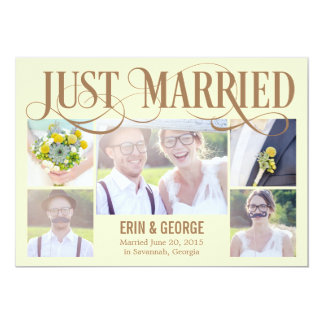 Just Married Wedding Announcement - Yellow