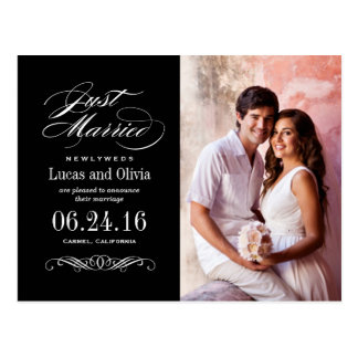 Just Married Wedding Announcements   Black Postcard