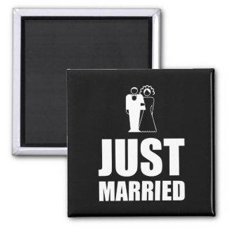 Just Married Wedding Bride Groom Square Magnet