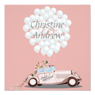 """Just Married"" Wedding Car & Balloons Post Wedding Card"