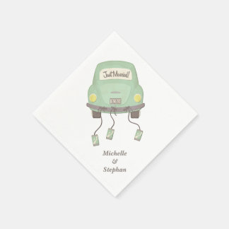 Just Married Wedding Car Paper Napkins