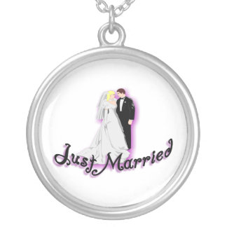 Just Married Wedding Couple Round Pendant Necklace