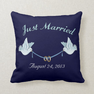 Just Married Wedding Doves Throw Pillow