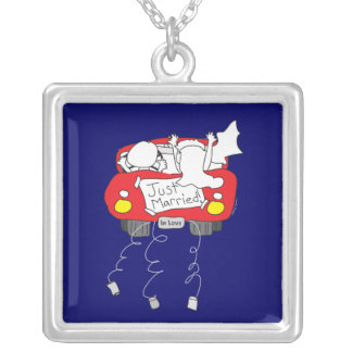 Just Married Wedding Gift Square Pendant Necklace