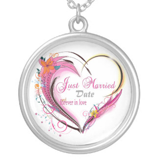 Just Married Wedding Heart  Necklace