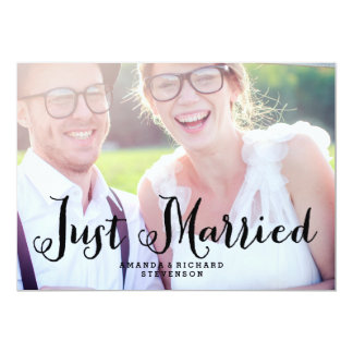 "JUST MARRIED | WEDDING PHOTO CARD 5"" X 7"" INVITATION CARD"