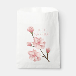Just Married Wedding Pink Cherry Blossom Flower Favour Bag