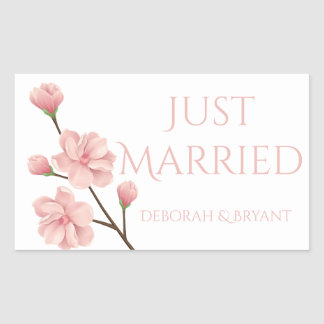 Just Married Wedding Pink Cherry Blossom Flower Sticker