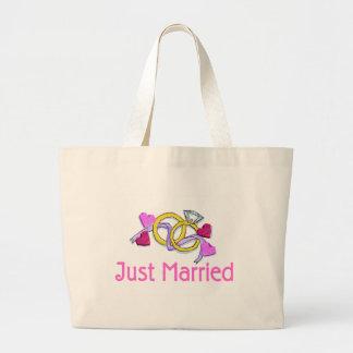 Just Married Wedding Rings Large Tote Bag