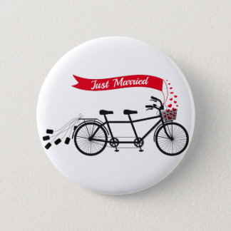 Just married, wedding tandem bicycle 2 inch round button