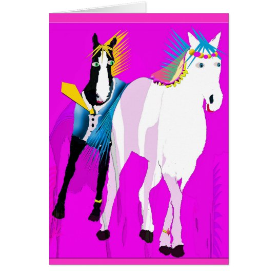 Just Married - Whimsical Horse Collection Card