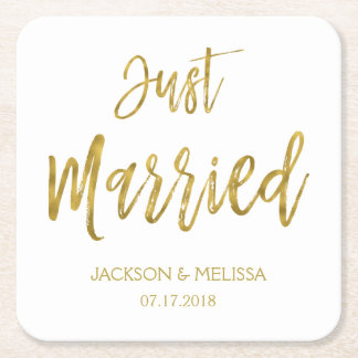 Just Married White and Gold Foil Coasters