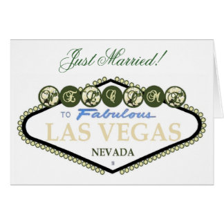 Just Married! White Rose Las Vegas Card