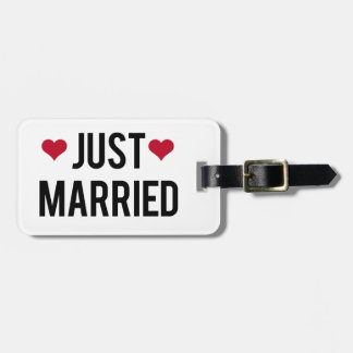 just married with two red hearts luggage tag