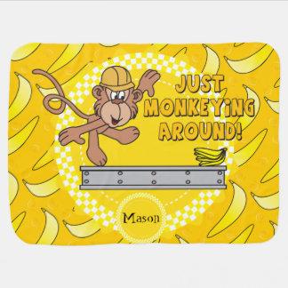 Just Monkey Around Baby Nursery Theme Swaddle Blanket