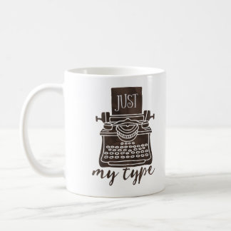 Just my type writer mug coffee reader