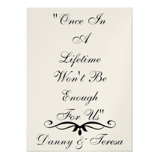 "Just  One Lifetime Wedding/Anniversary  Invitation 5.5"" X 7.5"" Invitation Card"