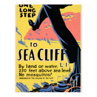 Just one long step to Sea Cliff Postcard