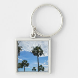 Just Palm Trees Silver-Colored Square Keychain