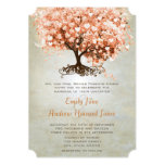 Just Peachy Coral Heart Leaf Tree Wedding Invites