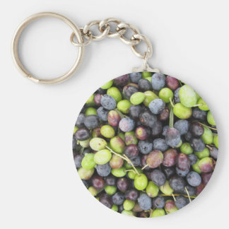 Just picked olives background during harvest time basic round button keychain