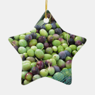 Just picked olives on the net during harvest time ceramic star ornament