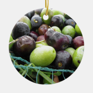 Just picked olives on the net during harvest time round ceramic ornament
