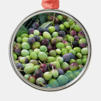 Just picked olives on the net during harvest time Silver-Colored round ornament