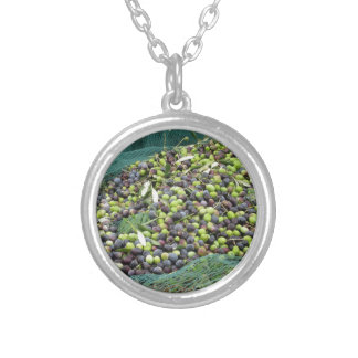 Just picked olives on the net during harvest time silver plated necklace
