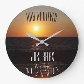 Just Relax with Fallen Numbers & Sunset - Large Clock