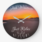 Just Relax with Fallen Numbers with Sunset - Large Clock