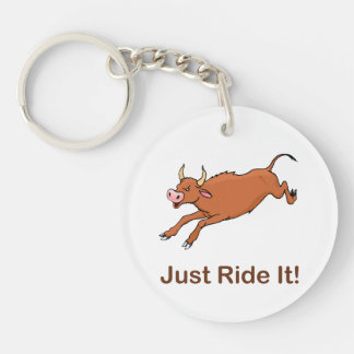 Just Ride It With Brown bucking bull Double-Sided Round Acrylic Keychain