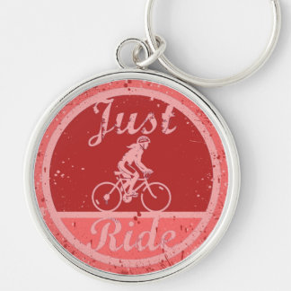 Just Ride Pink Paint Splashes Female Cyclist Keychain