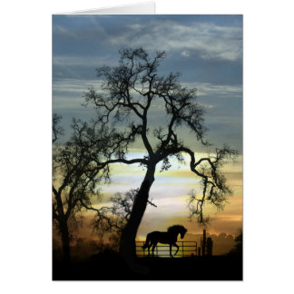 Just Saying Hello Horse and Oak Tree Card