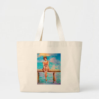 JUST SITTIN ON THE DOCK OF THE BAY LARGE TOTE BAG