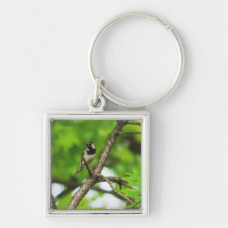 Just Sitting Around Silver-Colored Square Keychain