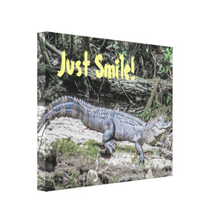 Just Smile Alligator Nature Quote Canvas Print