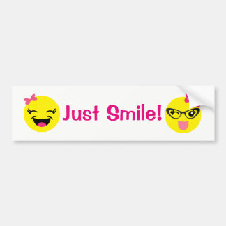 Just Smile Girly Emojis Bumper Sticker